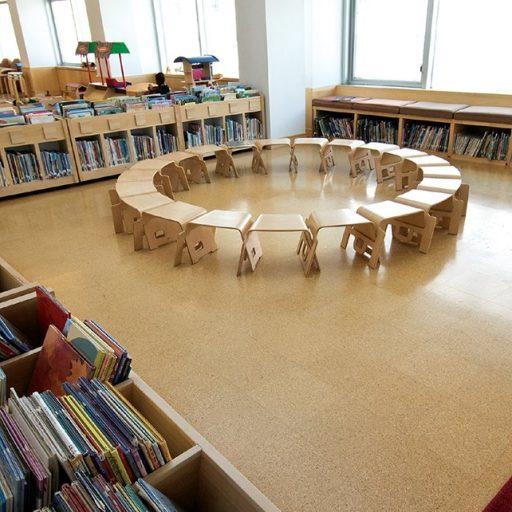 Kamščio grindys Corkcomfort Originals Avenue bibliotekoje