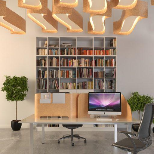 kamštiniai šviestuvai ir pertvaros biure